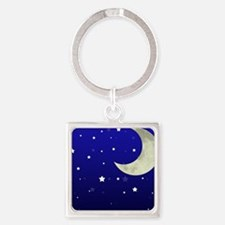 Moon and Stars Square Keychain
