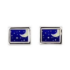 Moon and Stars Rectangular Cufflinks