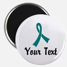 """Personalized Teal Ribbon Aw 2.25"""" Magnet (10 pack)"""