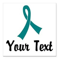 """Personalized Teal Ribbon Square Car Magnet 3"""" x 3"""""""