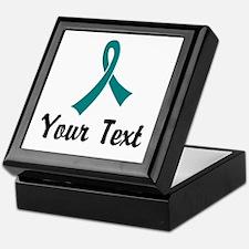 Personalized Teal Ribbon Awareness Keepsake Box