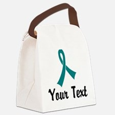 Personalized Teal Ribbon Awarenes Canvas Lunch Bag
