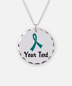 Personalized Teal Ribbon Awa Necklace