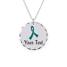 Personalized Teal Ribbon Awa Necklace Circle Charm