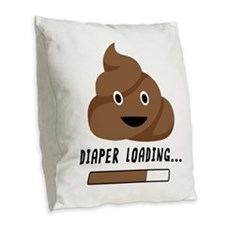 Diaper Loading Burlap Throw Pillow