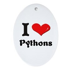 I love pythons  Oval Ornament
