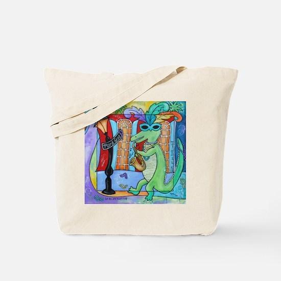 Mardi Gras Jazz Gator Tote Bag