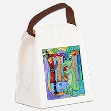 Mardi Gras Jazz Gator Canvas Lunch Bag