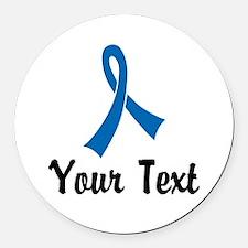 Personalized Blue Ribbon Awarenes Round Car Magnet