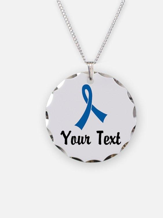 Personalized Blue Ribbon Awa Necklace Circle Charm