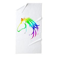 Rainbow Multicolored Horse Head Logo Beach Towel