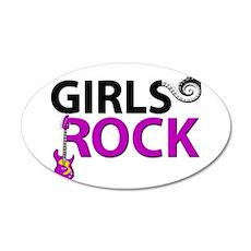 Girls Rock Guitar Piano Keys 35x21 Oval Wall Decal