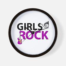 Girls Rock Guitar Piano Keys & Music Wall Clock