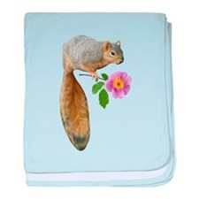 Squirrel with Flower baby blanket