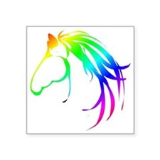 Rainbow Multicolored Horse Head Logo Sticker
