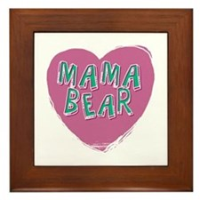 Mama Bear Heart Framed Tile