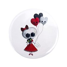 """Cute Skeleton Girl with Spooky Balloons 3.5"""" Butto"""