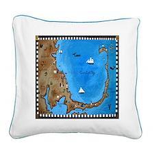 Cape Cod Map Square Canvas Pillow