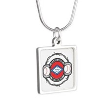 Arkansas Baseball Silver Square Necklace