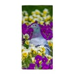 Pigeon and Pansies Beach Towel