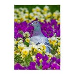 Pigeon and Pansies 5'x7'Area Rug