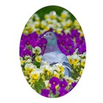 Pigeon and Pansies Ornament (Oval)