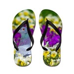 Pigeon and Pansies Flip Flops