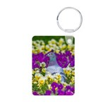 Pigeon and Pansies Keychains