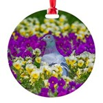Pigeon and Pansies Ornament