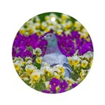 Pigeon and Pansies Ornament (Round)