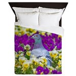 Pigeon and Pansies Queen Duvet