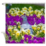 Pigeon and Pansies Shower Curtain