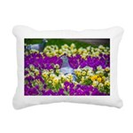 Pigeon and Pansies Rectangular Canvas Pillow