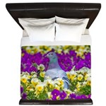 Pigeon and Pansies King Duvet