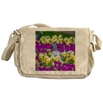Pigeon and Pansies Messenger Bag