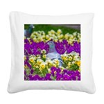 Pigeon and Pansies Square Canvas Pillow