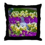 Pigeon and Pansies Throw Pillow