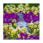 Pigeon and Pansies Tile Coaster