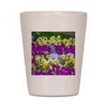 Pigeon and Pansies Shot Glass
