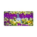 Pigeon and Pansies Aluminum License Plate