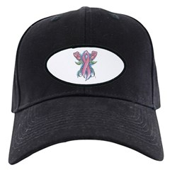 Pink Ribbon with Roses Baseball Hat