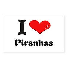 I love piranhas Rectangle Decal