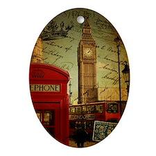 london landmark red telephone booth Ornament (Oval