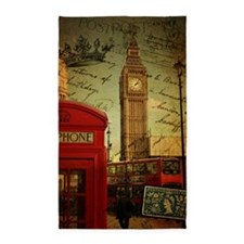 london landmark red telephone booth 3'x5' Area Rug