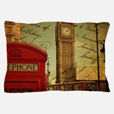 london landmark red telephone booth Pillow Case