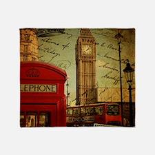 london landmark red telephone booth Throw Blanket