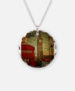 london landmark red telephone booth Necklace