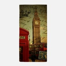 london landmark red telephone booth Beach Towel
