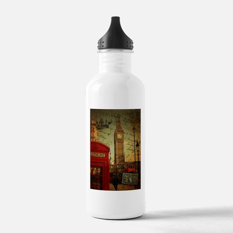 london landmark red telephone booth Water Bottle