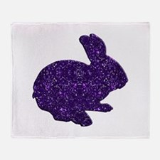 Purple Glitter Silhouette Easter Bunny Throw Blank